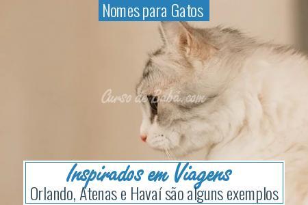 Nomes para Gatos  - Inspirados em Viagens